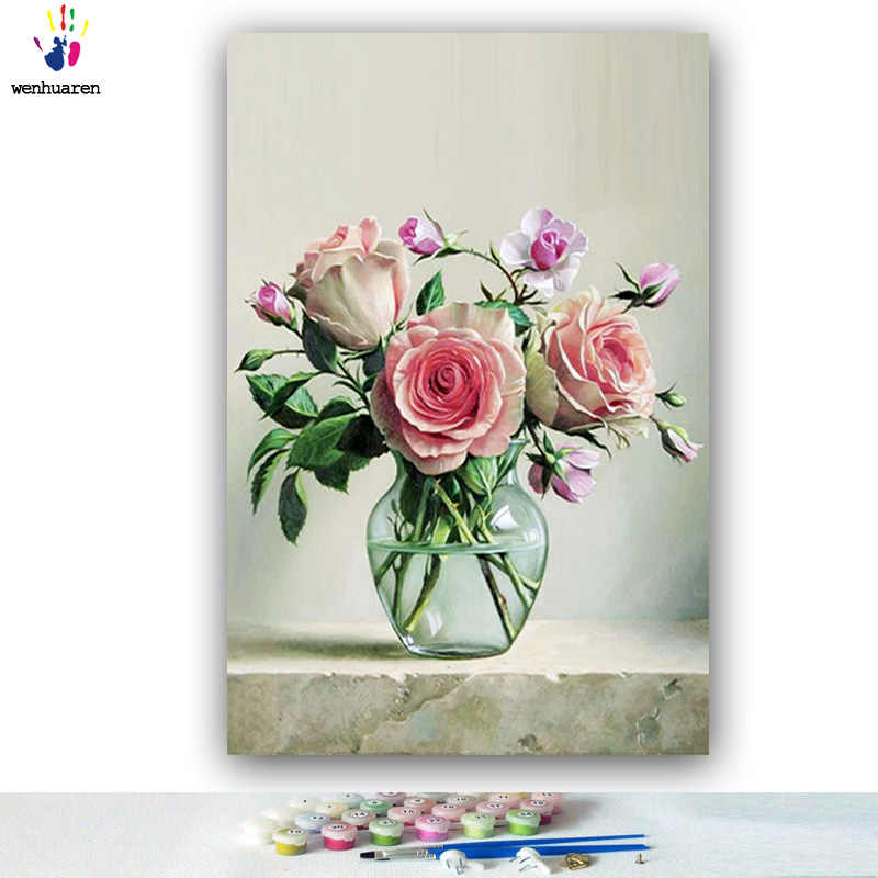 DIY colorings pictures by numbers with colors Pink orchid flower arrangement picture drawing painting by numbers framed Home