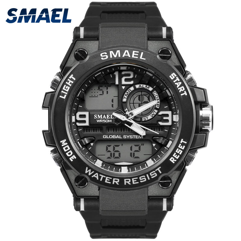 New Fashion Men Watches SMAEL Brand White Color Outdoor Sports Time Clock Gift for Men 50M Waterproof Dive Relogio Masculino1603 smael 1708b