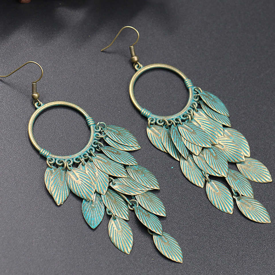 Antique Green Leaf Statement Dangle Drop Earrings for Women Female 2018 Wedding Engagement Earrings Hanging Jewelry Accessories