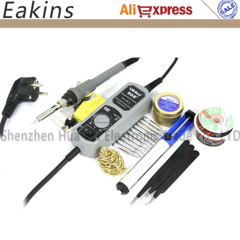 YIHUA 908+ Mini Pocket Welding repair Soldering Station Adjustable Electric soldering iron+10 pc Tips+3 pc Tweezers+tin wire nt 936e adjustable soldering solder iron station electric phone open pry repair tools set tips bit lead tin wire
