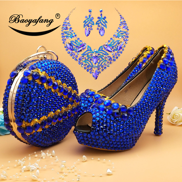 Buy Royal Blue Wedding Shoes With Matching Purse