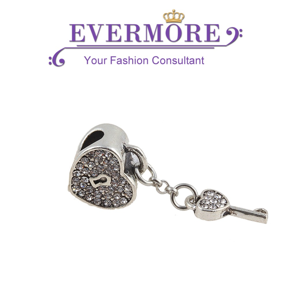 Fashion Crystal Love Heart Key Charm Beads European Loose Beads fit for Pandora Charm Bracelet