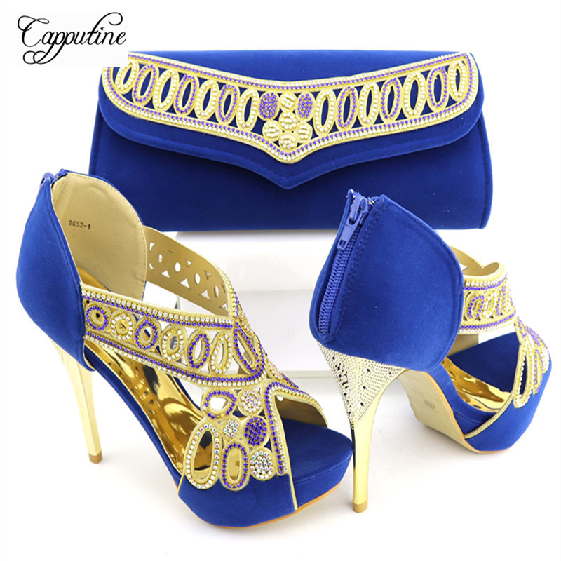 Capputine New Arrival Italian Shoes With Matching Bags Set High Quality African With Rhinestones Shoes And Bag Sets For Party new fashion italian shoes with matching bags for party high quality african shoes and bags set with stones pumps shoes 1308 l60