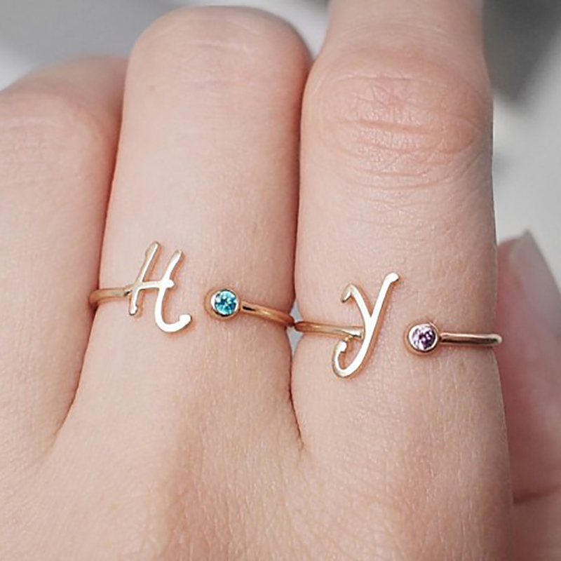 Senfai Personalized Initial Birthstone Ring Thin Gold Initial Unique Design New Copper Ring Best Gifts To Bridesmaid Jewelrys