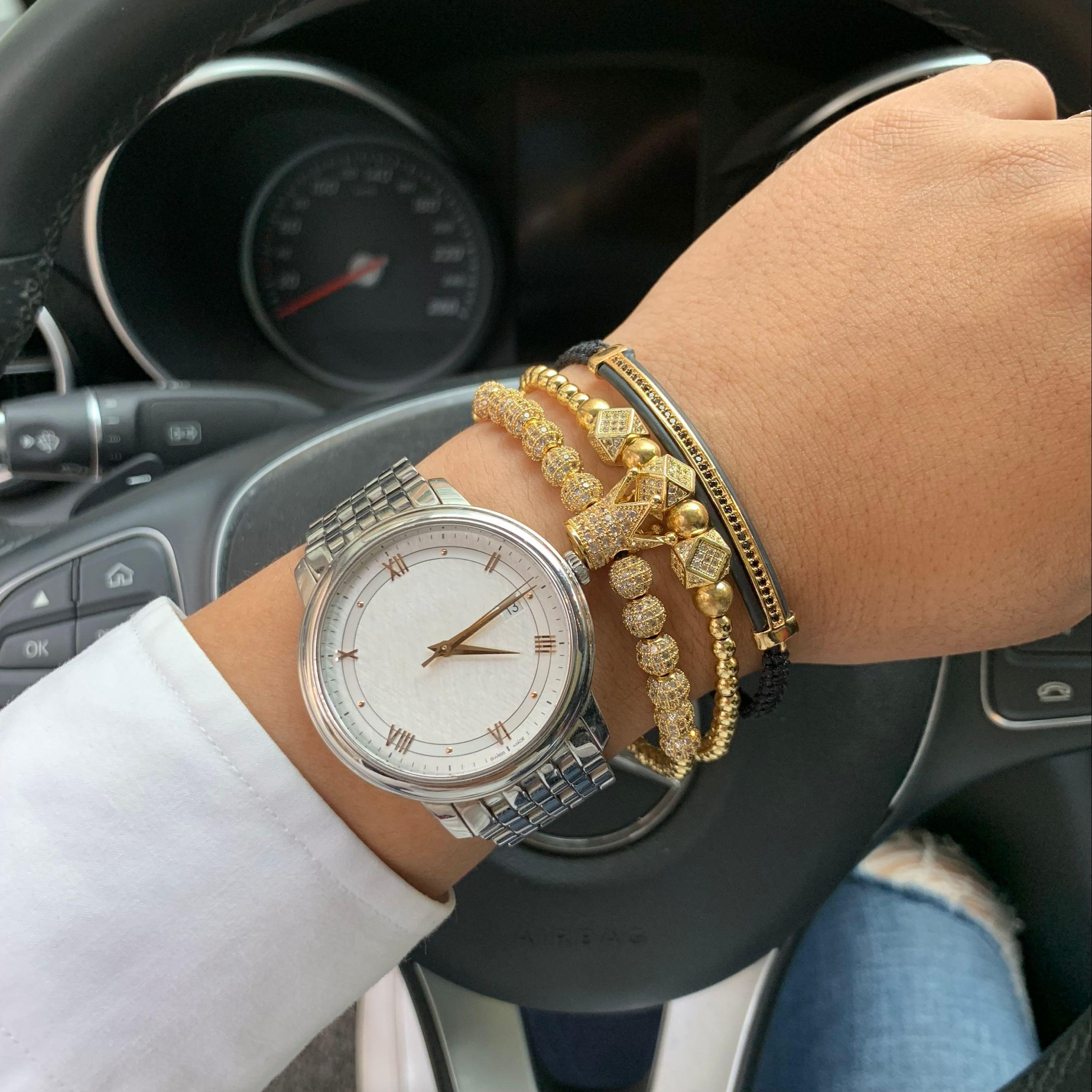 3pcs/set Gold Luxury CZ crown Charm beads bracelet stacks handmade Macrame men bracelets & bangles for Men Jewelry accessories