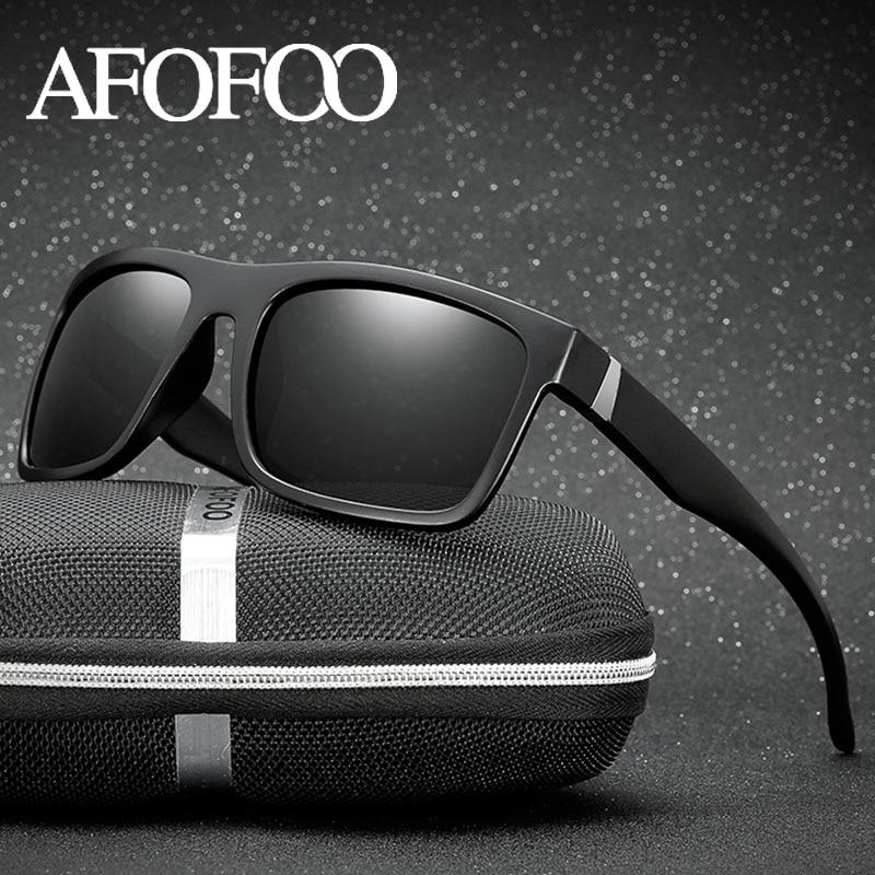 AFOFOO Classici Occhiali Da Sole Polarizzati di Disegno di Marca Degli Uomini di Guida Occhiali Da Sole Maschili Occhiali Quadrati Occhiali per La Visione Notturna Occhiali UV400 Shades