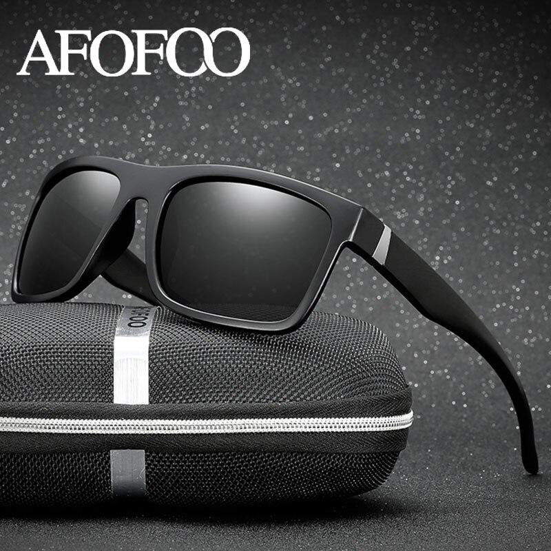 AFOFOO Klassische Polarisierte Sonnenbrille Marke Design Männer Fahren Sonnenbrille Männlichen Platz Gläser Nachtsicht Brillen UV400 Shades