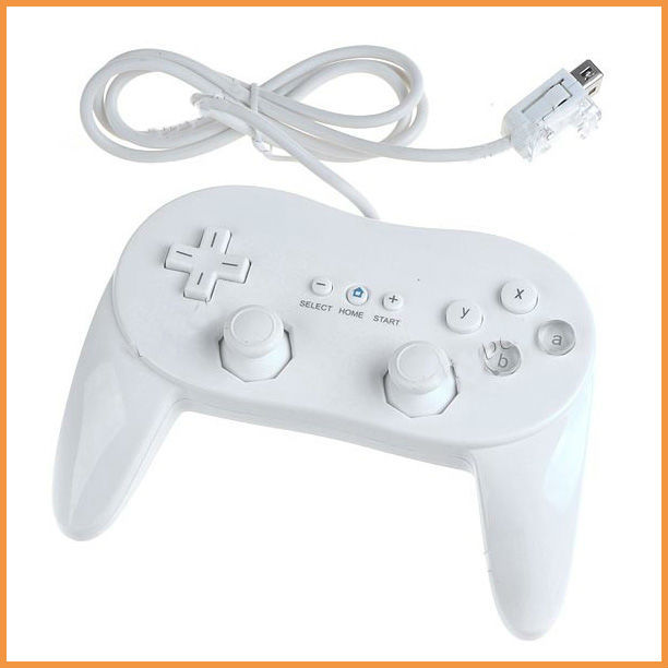 White Wired Classic Controller Joystick Gamepad Pro with Grips for Wii