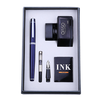 Free Engraved Text Double Nib Fountain Pen Ink Set OASO Business Office Financial Pens High End