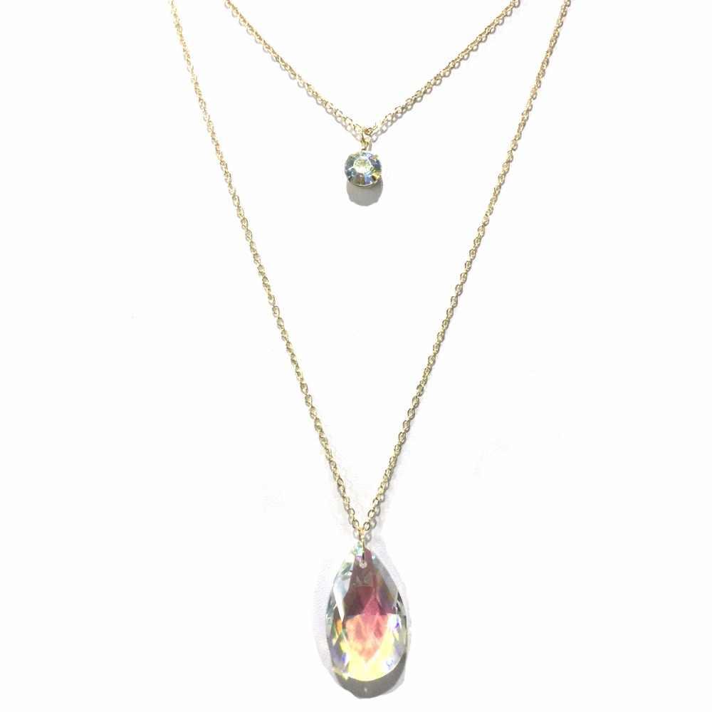 Renya Simple forme ovale cristal verre pendentif colliers deux rangées mince chaîne Long collier de mode fête bijoux ensemble pour les femmes