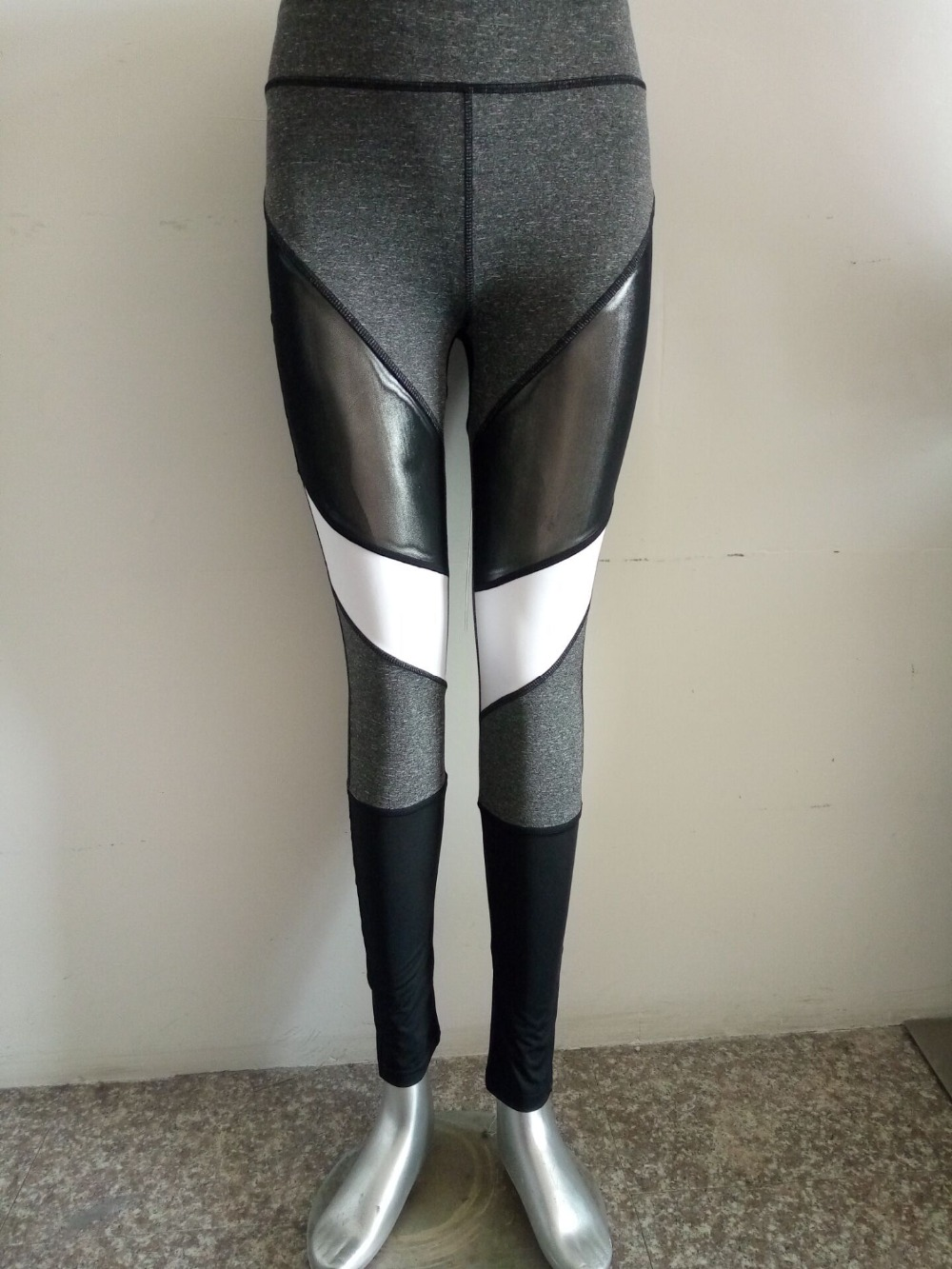 Kvinnor Fitness Leggings Svart Casual Leggins Workout Byxor Mesh - Damkläder - Foto 5