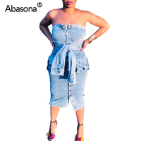 689319b2d1e241 Abasona Denim Jeans Dress Beggar Destroyed Pockets Sashes Buttons Up Front  Strapless Sexy Party Dresses Backless