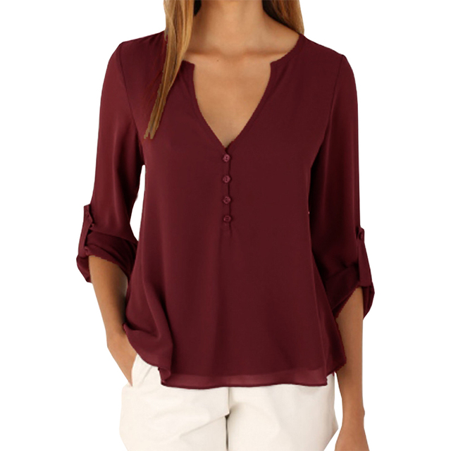 cd28763368 Blusas modelos explosão das mulheres sexy Com Decote Em V camisa feminina  longo-sleeved chiffon