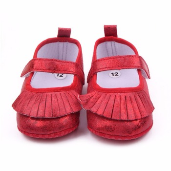 2017 Bright Skin Tassel Princess Shoes Baby Shoes Toddler Shoes Gold/Sliver/Red Color image