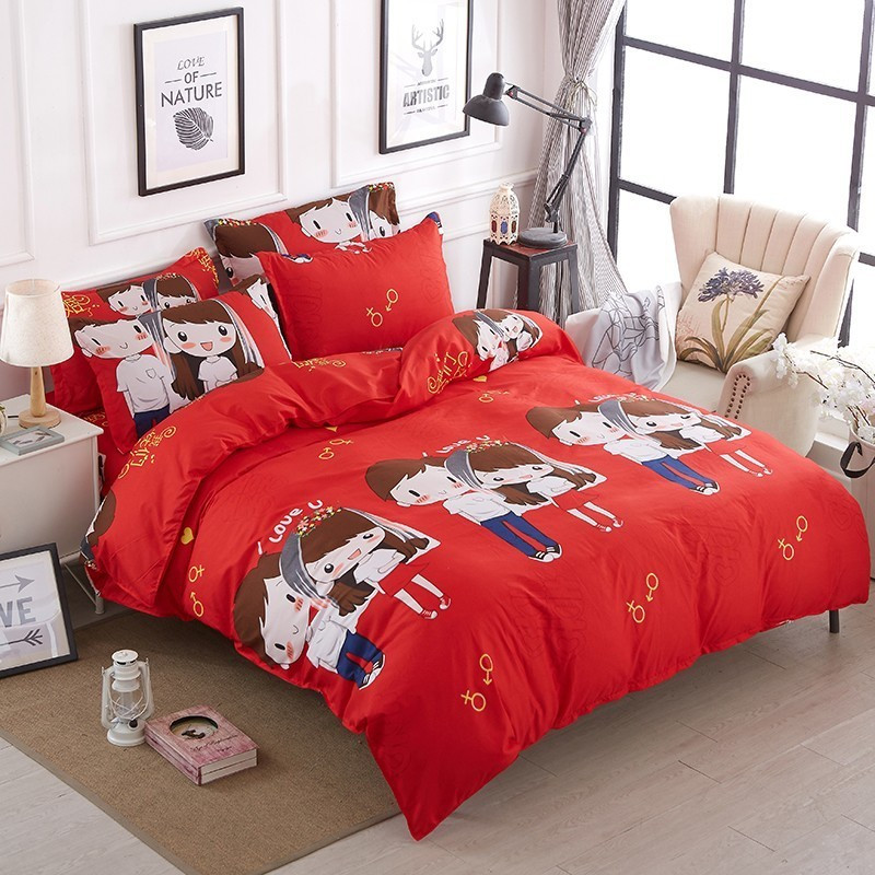 Fashionable Festive Home Spins Red Marriage Bedding Set Chinese Style Duvet Quilt Cover Pillow Cover Bedspread Teenager Adult