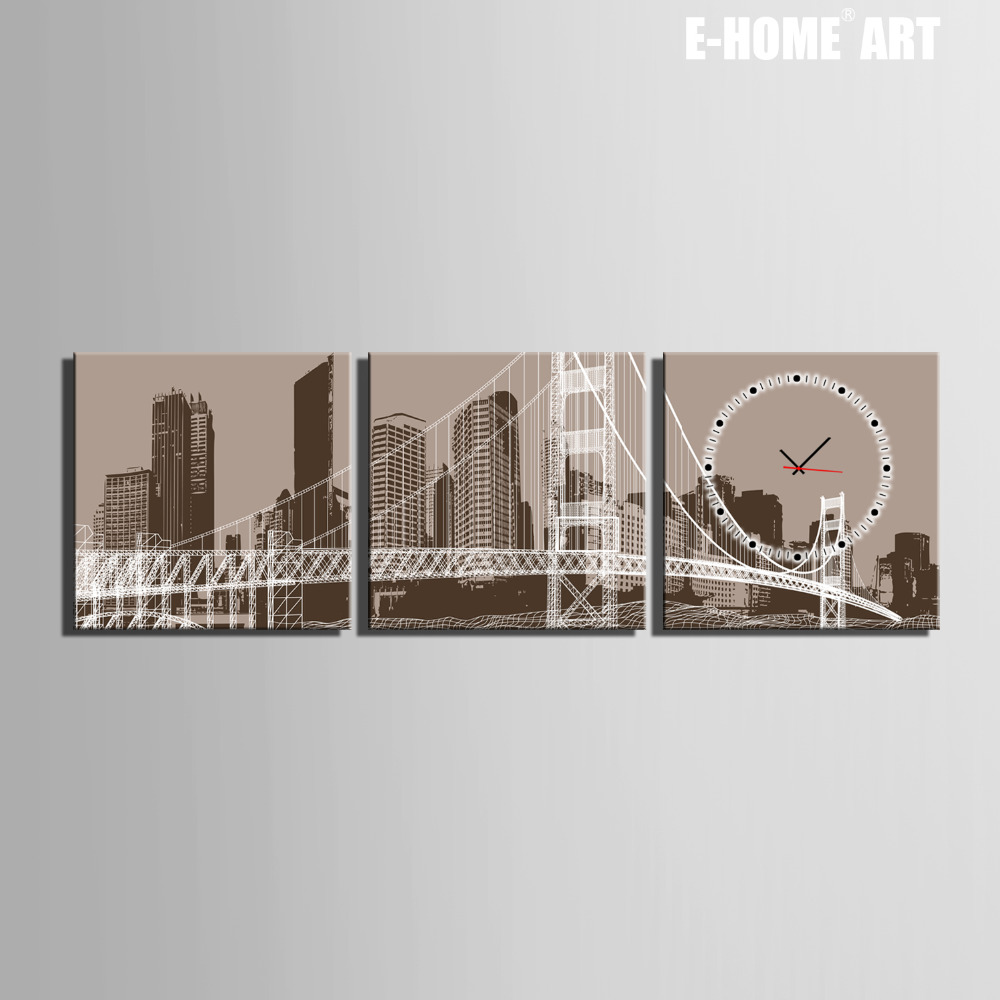 ツ)_/¯Envío libre E-HOME Ciudad y puente reloj en lona 3 piezas ...