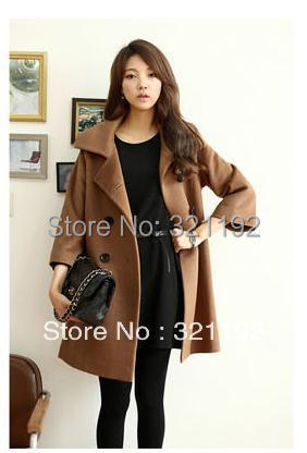 Women Autumn winter plus size loose lapel Sleeve coat female warm Cardigan Single-breasted casual fashion wool overcoat