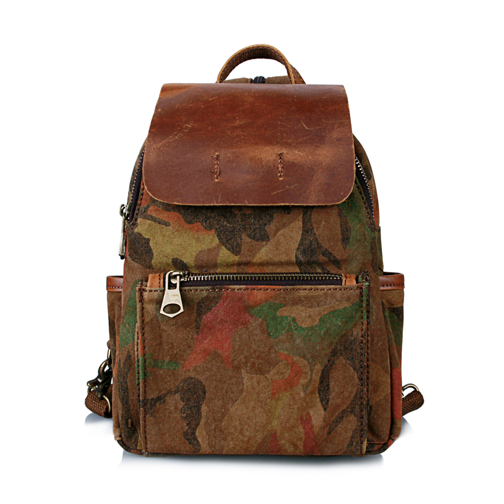 ФОТО Leather Canvas Backpack Tactics Backpack Bag For Men and Women Camouflage Backpack Schoolbag Popular Summer AUGUR Bags