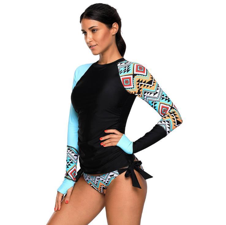 2018 New Summer Beach two Piece Long Sleeve Swimwear Bikini suit printing two Piece Bathing Suit Surf Board Swimsuit все цены