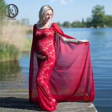 Chiffon with lace free size maternity lace dress with chiffon cloak tube top straight dress  maternity photography props