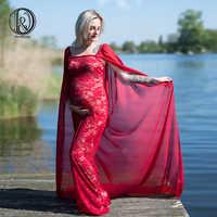 D & J 2018 Baby Shower Merletto Vestito Maternità Fotografia Prop Chiffion Maternità Mantello del Vestito Gravidanza Fotografia Sparare Più Il Formato
