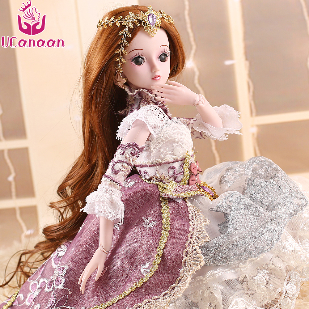 UCanaan BJD Doll Makeup Princess Toys for Girls DIY Dressup 1/3 SD Dolls With All Outfit Dress Wigs Shoes Birthday Gift for Kids handsome grey woolen coat belt for bjd 1 3 sd10 sd13 sd17 uncle ssdf sd luts dod dz as doll clothes cmb107