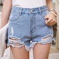 2016 Women Short  Style Fashion High Waist Denim Shorts Vintage Ripped Short Jeans B819