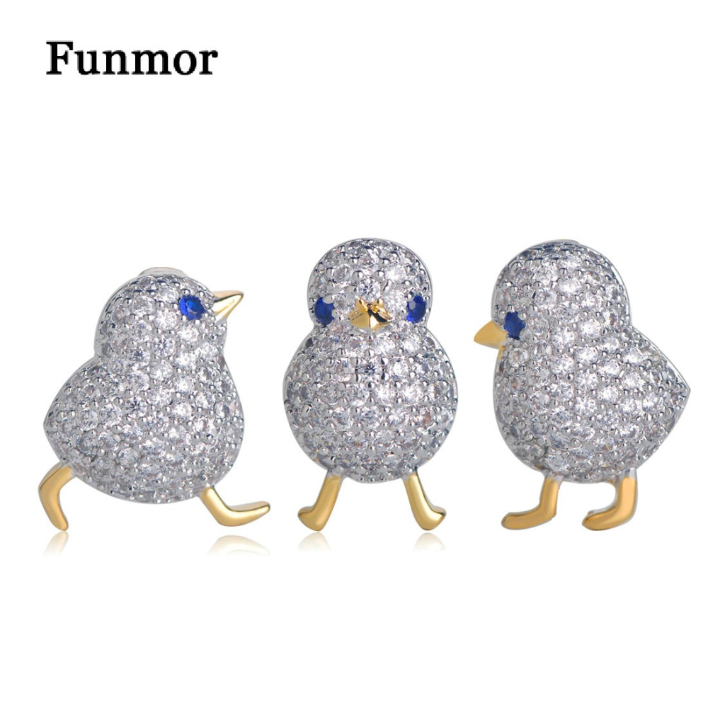Funmor Luxury Full Zircon Three Birds Brooch Gold Color Small Suits Dress Hat Collar Copper Brooch Pins Animal Scarf Buckle Gift collar color block striped dress