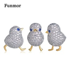 Funmor Luxury Full Zircon Three Birds Brooch Gold Color Small Suits Dress Hat Collar Copper Pins Animal Scarf Buckle Gift
