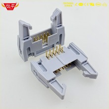 цены DC2-10P IDC SOCKET BOX 2.54mm PITCH EJECTOR HEADER RIGHT ANGLE CONNECTOR 2*5P 10PIN CONTACT PART OF THE GOLD-PLATED 3Au YANNIU