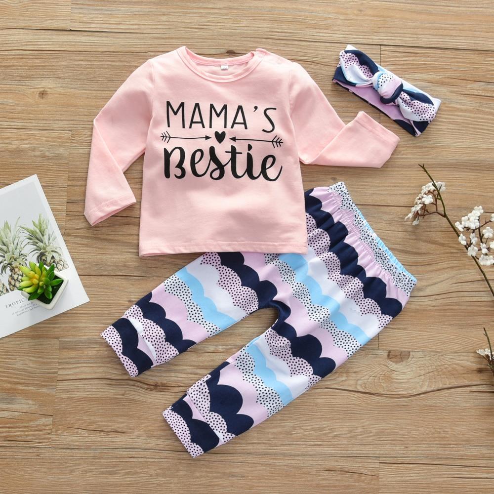 3pcs Newborn Toddler Infant Baby Girl Clothes T-shirt Tops+Long Pant Outfits Set