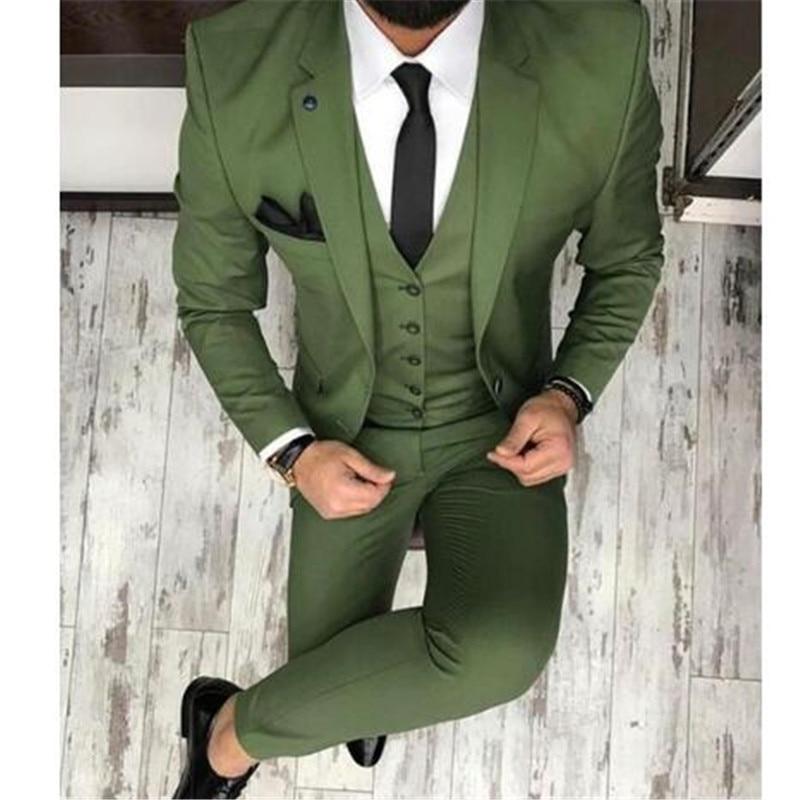 Mais recentes Modelos Casaco Calça Homens Terno Bege Prom Tuxedo Slim Fit 3 Peça Noivo Casamento Ternos Para Homens Blazer Personalizado terno Masuclino - 6