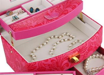 ROWLING Large Jewelry Box And Packaging Display Organizer Girls Rings Case Rose Red Flower Pattern