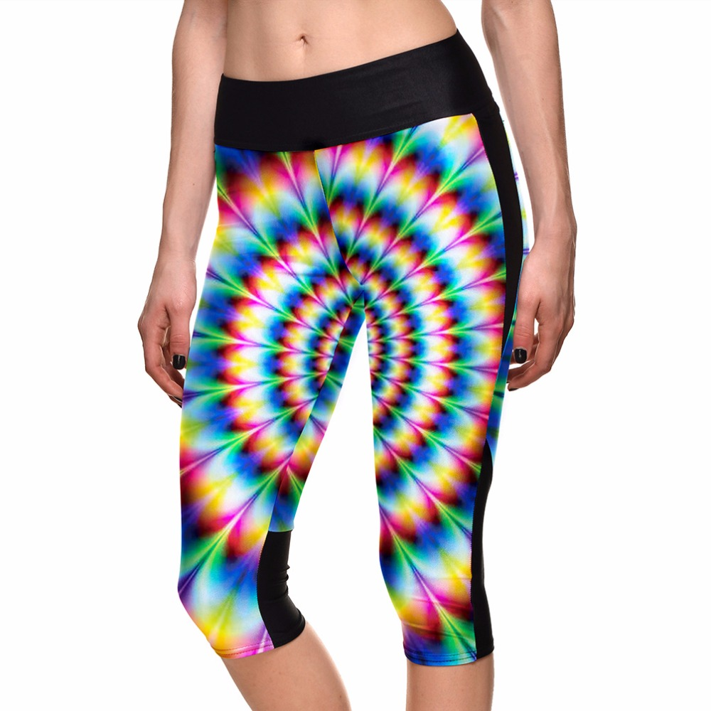 Elastic Women Capris Multi Color Rainbow Printing <font><b>pantalones</b></font> <font><b>mujer</b></font> Elastic S To <font><b>4xL</b></font> Plus Size Fitness Pants 3 Patterns image