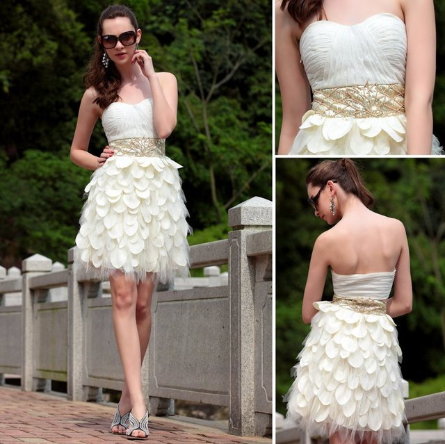 Dorisqueen 6031 cheap ready to wear 2015hot  sale Free shipping white ruffles sweetheart open back sexy beige short prom dresses