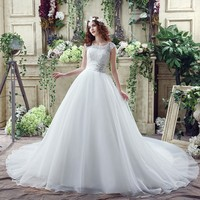 New Style A Line Scoop Organza Short Cap Sleeve Zipper Wedding Dresses Appliques Beads Lace Sashes