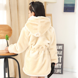 Image 5 - Meninas casaco de pele do falso inverno manga longa com capuz casaco quente imitação de pele de coelho casaco longo para crianças 8 13 ano outwear macio cl1043