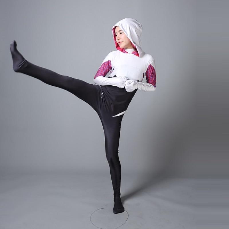 3D Print spider gwen stacy costume Spandex Lycra Zentai Spiderman halloween costumes for women plus size Cosplay Suit anti venom
