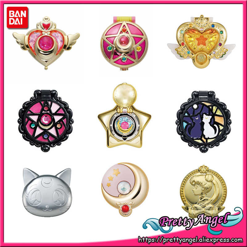 Prettyangel-Echt Bandai Sailor Moon 20th Anniversary Gashapon Capsule Make Up Schoonheid Spiegel