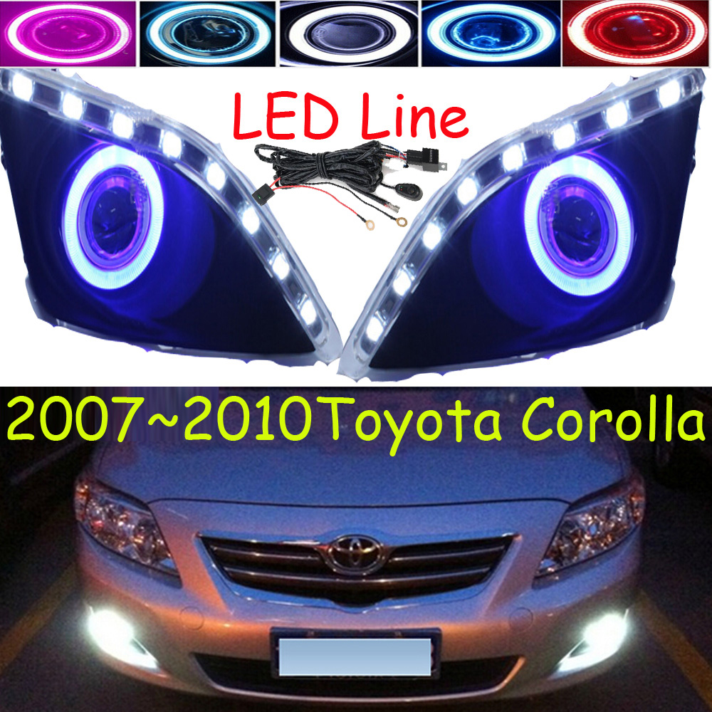 Corolla fog light,LED,2007~2010;Free ship!Corolla daytime light,2ps/set+wire ON/OFF;optional:Halogen/HID XENON+Ballast,Corolla bqlzr dc12 24v black push button switch with connector wire s ot on off fog led light for toyota old style