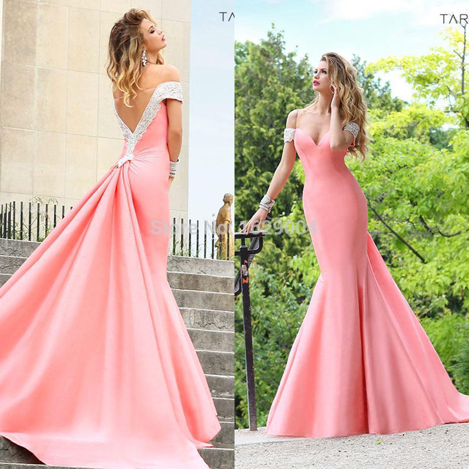 Sheer V back Tarik Ediz Copy Evening Gowns New Pageant/Celebrity Off ...