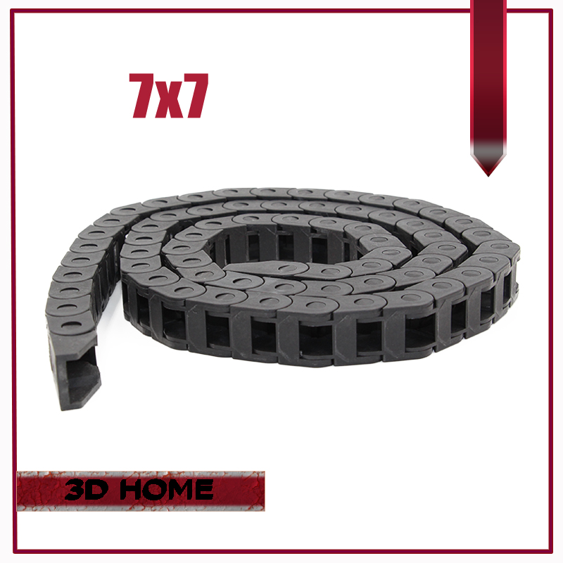 7 X 7mm Length 1 Meter Cable Drag Chain Wire Carrier With End Connectors For CNC Router Machine Tools