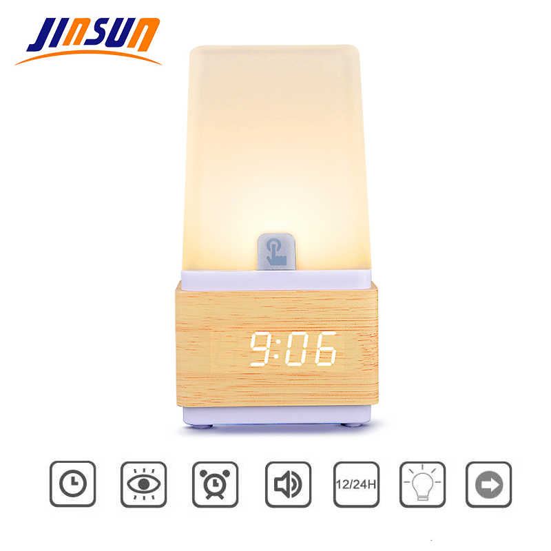 Jinsun Lampu Meja dengan Jam Alarm LED Bedside Lampu Kayu Membaca Bercahaya untuk Anak-anak USB Perlengkapan Pencahayaan