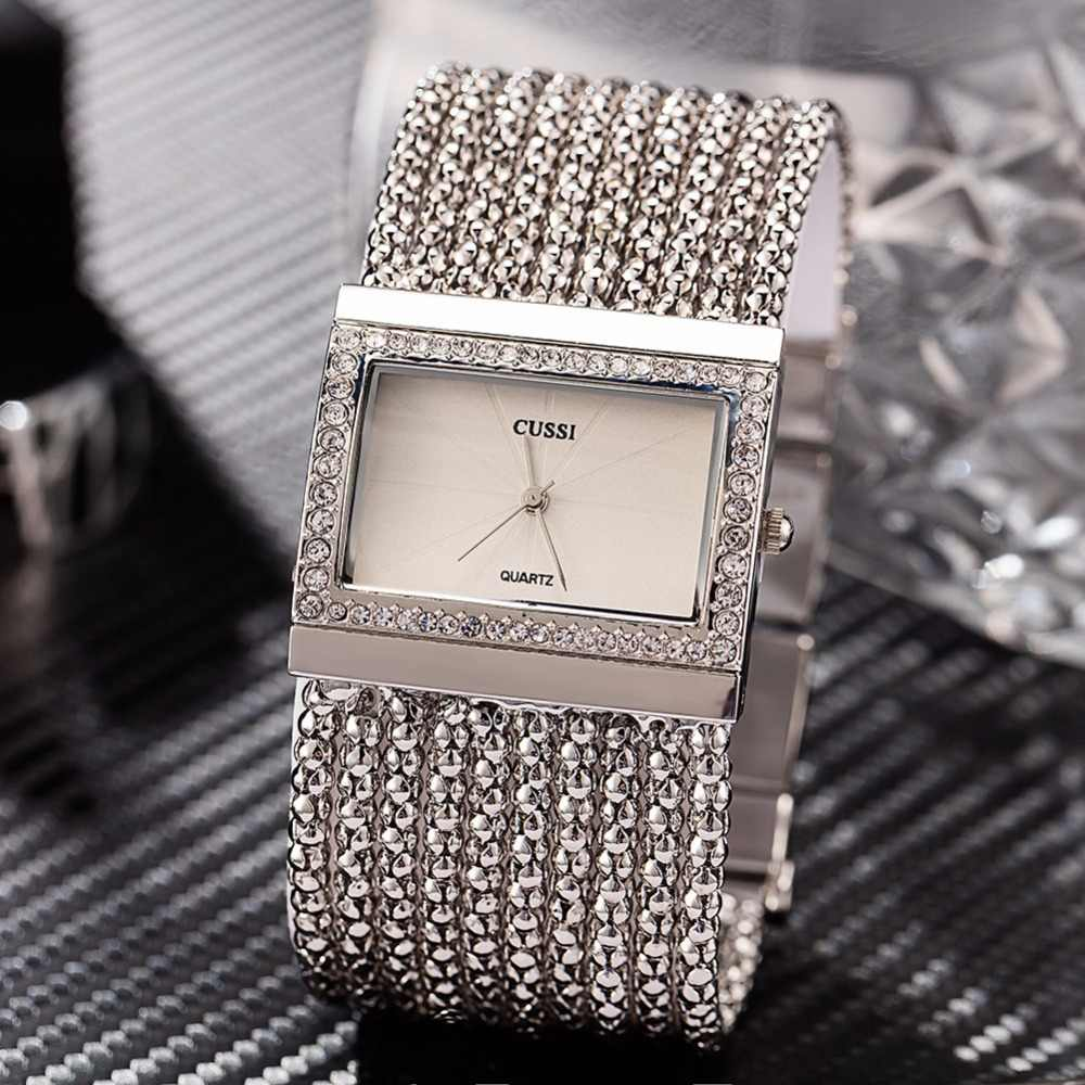 2018 New CUSSI Luxury Brand Womens Quartz Wristwatches Ladies Bracelet Watches Dress Clock Square Generous Reloj Mujer Silver