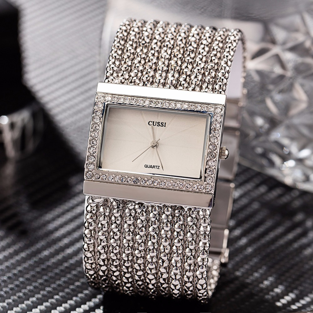 2018 New CUSSI Luxury Brand Womens Quartz Wristwatches Ladies Bracelet Watches Dress Clock Square Generous Reloj Mujer Silver cussi 2018 gold women bracelet watches fashion ladies watches clock womens quartz wristwatches relogio feminino reloj mujer gift