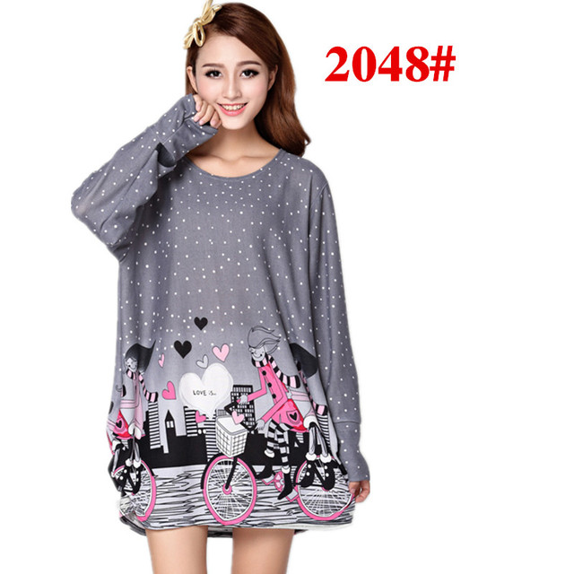 new 2017 Women's autumn spring plus size floral print long-sleeve pullover casual dress dresses tops loose tunic