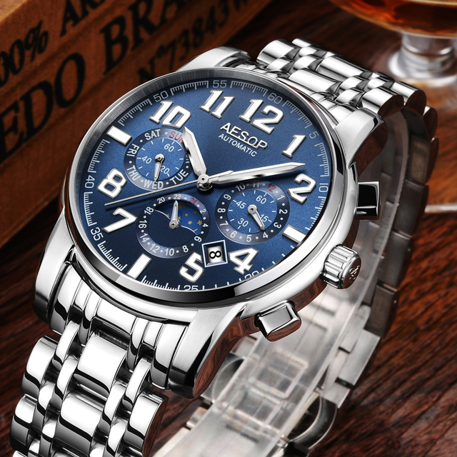 AESOP Fashion Watch Men watches top brand luxury Male Clock Full steel hours Automatic Mechanical Sliver black Relogio Masculino