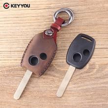 Кожаный чехол для ключей от KEYYOU, брелок с 2 кнопками, чехол для дистанционного ключа для Honda Accord Civic CRV Pilot, защитный чехол для ключей