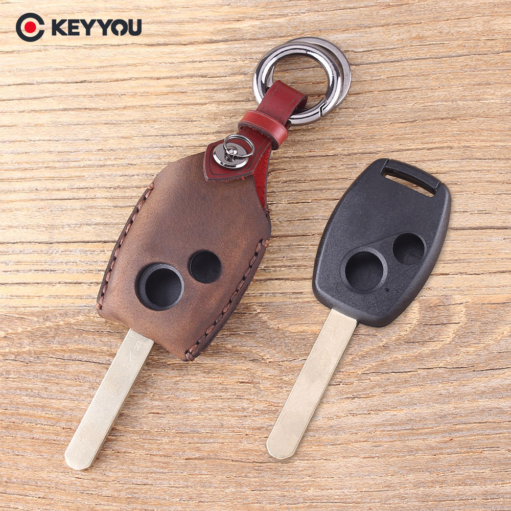 KEYYOU Leather Car Key Cover Fob 2 Buttons Remote Key Shell For Honda Accord Civic CRV Pilot Protector Key Bag Case jignyuqin 3 buttons remote key shell for honda accord insight crv civic odyssey pilot ridgeline car alarm keyless entry fob case