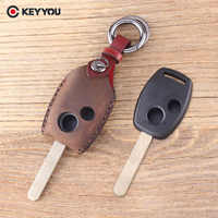KEYYOU Leather Car Key Cover Fob 2 Buttons Remote Key Shell For Honda Accord Civic CRV Pilot Protector Key Bag Case